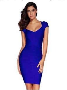 Royal Blue Cross Front Classic Mini Bandage Dress