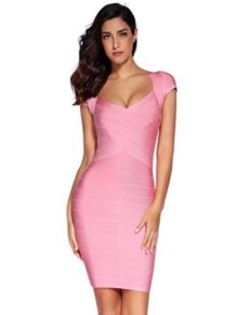 Pink Cross Front Classic Mini Bandage Dress