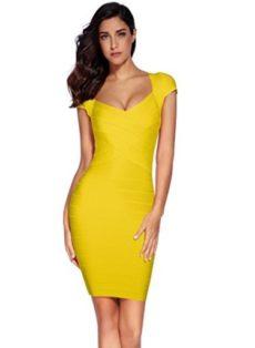 Yellow Cross Front Classic Mini Bandage Dress