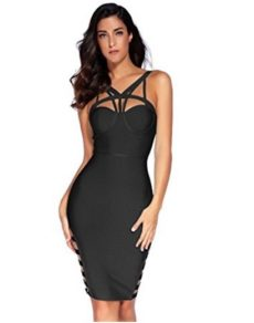 Black Little Strappy  Front Cut-Out Corset Bandage Dress