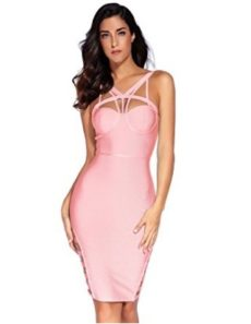Pink Little Strappy  Front Cut-Out Corset Bandage Dress