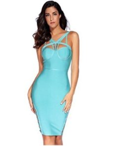 Teal Little Strappy  Front Cut-Out Corset Bandage Dress