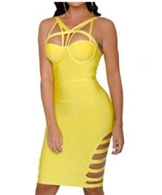 Yellow Little Strappy  Front Cut-Out Corset Bandage Dress