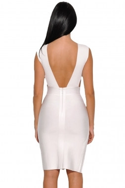White Side Cut Out Low Back High Slit Mini Bandage Dress