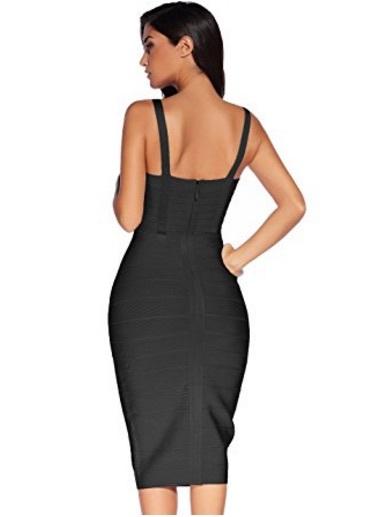 Black Sweetheart Neckline Classic Midi Bandage Dress