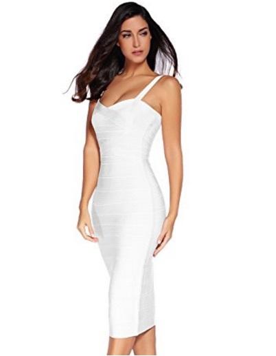 White Sweetheart Neckline Classic Celeb Inspired Midi Bandage Dress