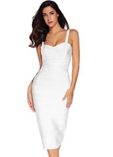 White Sweetheart Neckline Classic Celeb Inspired Midi Bandage Dress