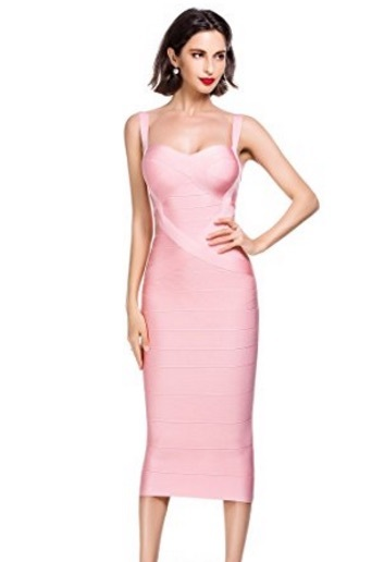 Pink Sweetheart Neckline Classic Midi Bandage Dress