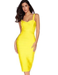Sunshine Yellow Sweetheart Neckline Classic Midi Bandage Dress