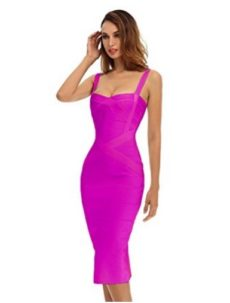Rose Purple Sweetheart Neckline Classic Celeb Inspired Midi Bandage Dress