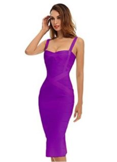 True Purple Sweetheart Neckline Classic Celeb Inspired Midi Bandage Dress