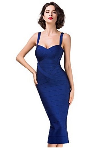 Navy Blue Sweetheart Neckline Classic Celeb Inspired Midi Bandage Dress