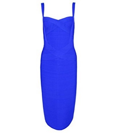 Royal Blue Sweetheart Neckline Classic Celeb Inspired Midi Bandage Dress