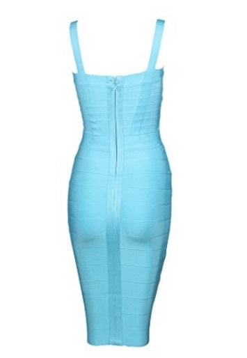 Light Teal Blue Sweetheart Neckline Classic Celeb Inspired Midi Bandage Dress