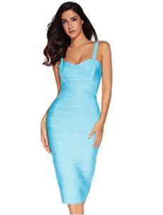 Light Teal Blue Sweetheart Neckline Classic Celeb Inspired Midi Bandage Dress