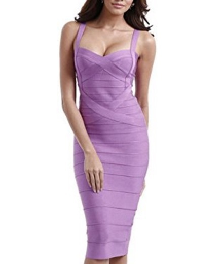 Light Purple Sweetheart Neckline Classic Celeb Inspired Midi Bandage Dress