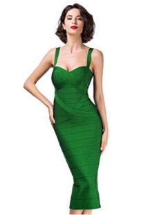 Green Sweetheart Neckline Classic Celeb Inspired Midi Bandage Dress