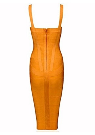 Orange Sweetheart Neckline Classic Celeb Inspired Midi Bandage Dress