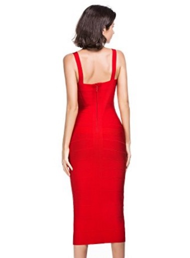 d040259543 Red Sweetheart Neckline Classic Celeb Inspired Midi Bandage Dress