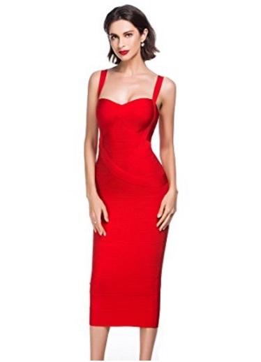 Red Sweetheart Neckline Classic Celeb Inspired Midi Bandage Dress
