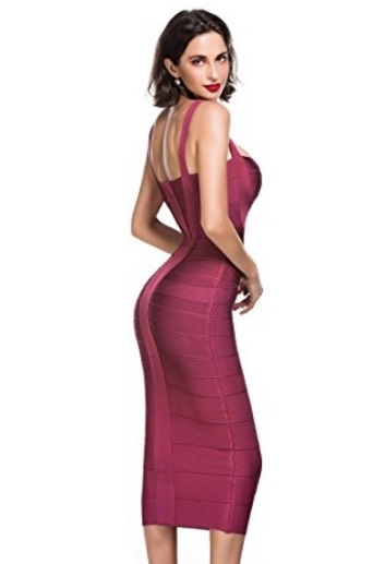 Wine Red Sweetheart Neckline Classic Celeb Inspired Midi Bandage Dress