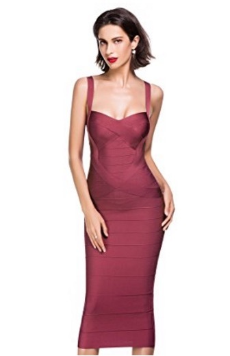 54f411ae9a Wine Red Sweetheart Neckline Classic Celeb Inspired Midi Bandage Dress