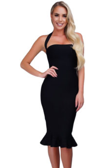 Black Ruffle Trim Halter Styled Mermaid Midi Bandage Dress