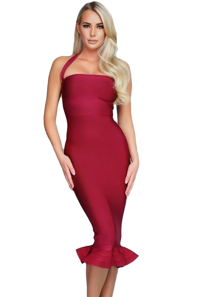 Wine Red Ruffle Trim Halter Styled Mermaid Midi Bandage Dress