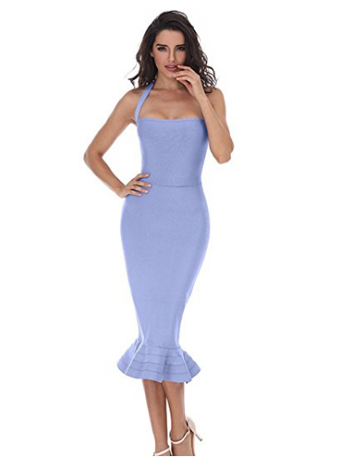 Blue Ruffle Trim Halter Styled Mermaid Midi Bandage Dress