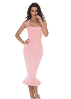 Pink Ruffle Trim Halter Styled Mermaid Midi Bandage Dress