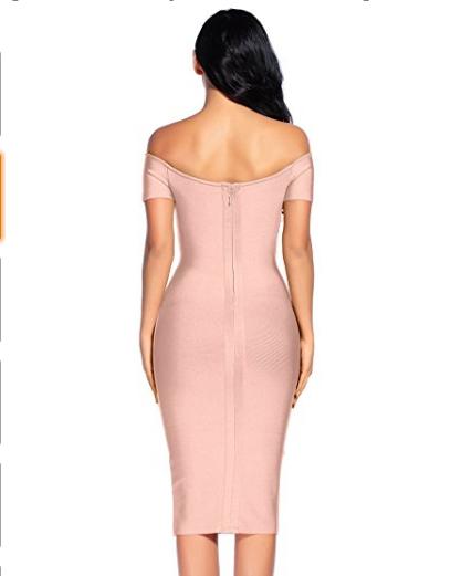 Pink Elegant Off the Shoulder Midi Bandage Dress