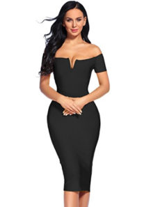 Black Elegant Off the Shoulder Midi Bandage Dress