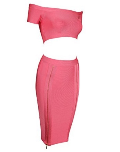 Pink Two Piece Off the Shoulder Crop Top and Pencil Skirt Bandage Set