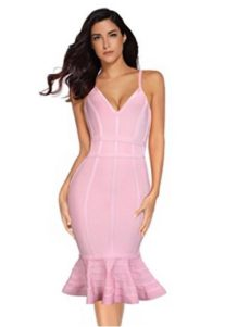 Pink Spaghetti Strap V-Neck Ruffle Bottom Bandage Dress