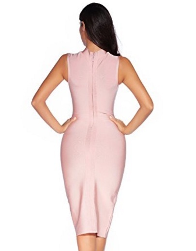 Nude Pink Sleek High Neck Sleeveless Midi Bandage Dress