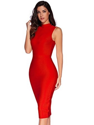 Red Sleek High Neck Sleeveless Midi Bandage Dress