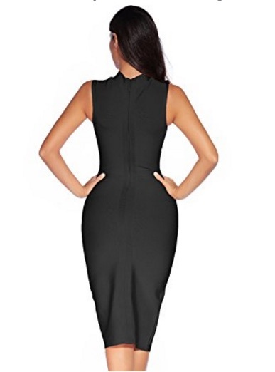Black Sleek High Neck Sleeveless Midi Bandage Dress