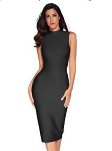Black Sleek High Neck Sleeveless Midi Bandage Dress