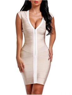 Nude & White Cap Sleeve Zip Front V-Neck Mini Bandage Dress