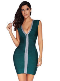 Green & Gray Cap Sleeve Zip Front V-Neck Mini Bandage Dress