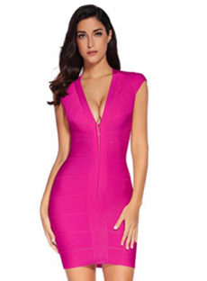 Hot Pink Cap Sleeve Zip Front Open Back V-Neck Mini Bandage Dress