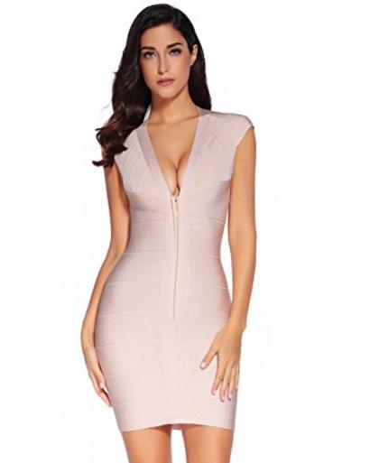 Nude Cap Sleeve Zip Front Open Back V-Neck Mini Bandage Dress
