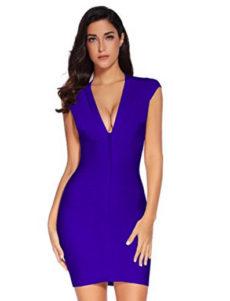 Blue Cap Sleeve Zip Front Open Back V-Neck Mini Bandage Dress