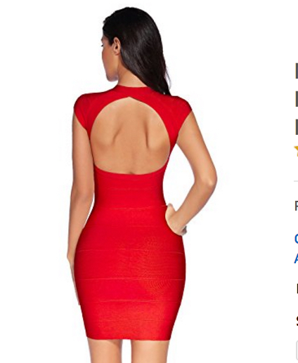 Red Cap Sleeve Zip Front Open Back V-Neck Mini Bandage Dress