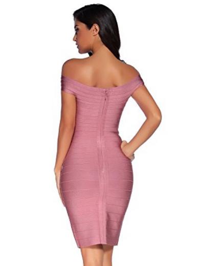 Mauve Pink Classic Off the Shoulder Midi Bandage Dress