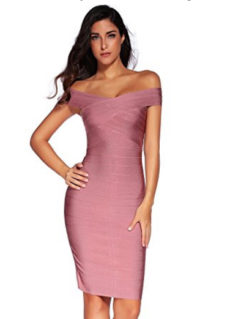 Mauve Pink Classic Off the Shoulder Midi Bandage Dress