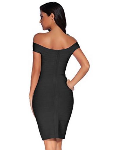 Black Little Classic Off the Shoulder Midi Bandage Dress