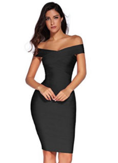 Black Little Classic Off the Shoulder Midi Bandage Dress