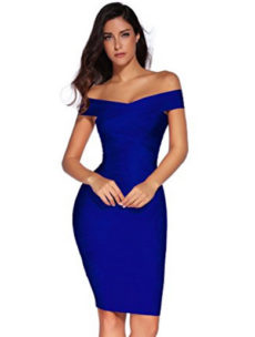Blue Classic Off the Shoulder Midi Bandage Dress