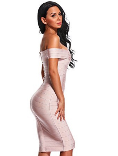 Nude Classic Off the Shoulder Midi Bandage Dress